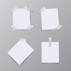 Set of paper sheets sticked on tape. Vector illustration.