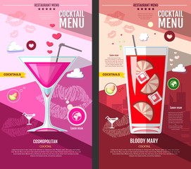 Flat style cocktail menu design