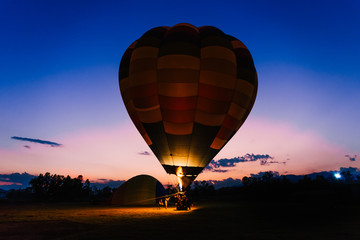 a big balloon in the night time. Picture for travel and freedom concept.