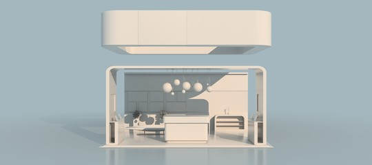 3d rendering of a white exhibition design
