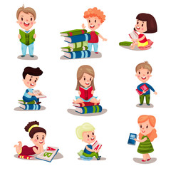 Cute smart kids reading books set of vector Illustrations