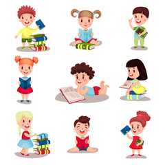 Cute smart boys and girls reading books set of vector Illustrations