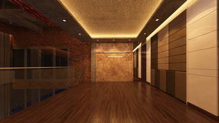 Loft Empty Room, 3d render interior design, mock up illustration
