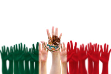 Mexico national flag pattern on people hands raising up for Mexican Independence day celebration and Cinco de Mayo festival