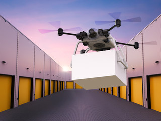 Wall Mural - delivery drone flying with box