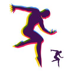 Silhouette of a Dancer. Gymnast. Man is Posing and Dancing. Sport Symbol. Design Element. Vector Illustration.