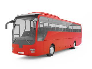 Red big tour bus isolated on a white background. 3D rendering