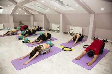Pilates Poses with group exersise