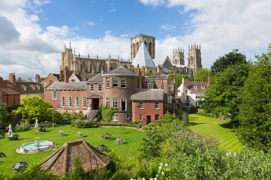 York Minster York UK view from rear City Walls of the historic cathedral and tourist attraction