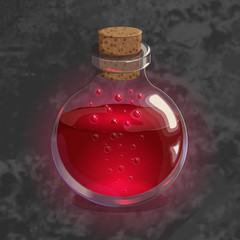 Bottle with red potion. Game icon of magic elixir. Bright design for app user interface. Life, love, blood, rage, fury, damage. Vector illustration. Icons Collection.