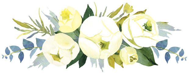 Floral wedding background with white peony. Watercolor illustration