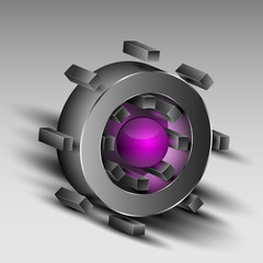 Gray cog with purple core