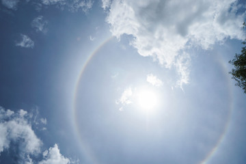 corona of the Sun with bright blue sky in midday