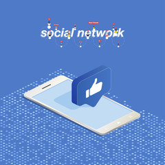 3D button of social networks in isometric in smartphone. Icon of social network thumb to the top. Vector illustration EPS 10