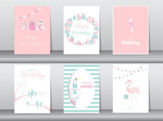 Set of birthday invitations cards,poster,greeting,template,bird,owl,flamingo,Vector illustrations