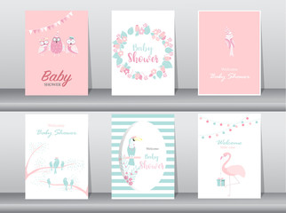 Set of baby shower invitations cards,poster,greeting,template,bird,owl,flamingo,Vector illustrations