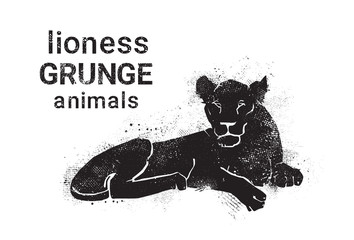 Silhouette Lioness In Grunge Design Style Animal Icon Vector Illustration
