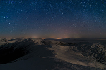 mountains stars landscape The wonderful starry sky on Christmas time and the majestic mountain range.
