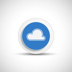 Abstract vector cloud button with shadow.