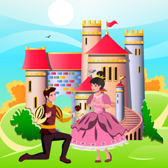 Princess and knights standing in front of the castle