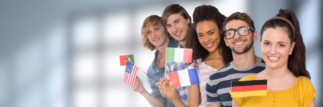 International Students in front of blurred background