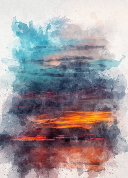 Sunset with aquarelle water paint effect
