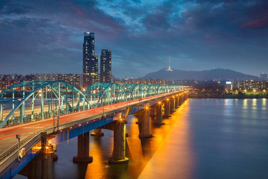 Seoul. Image of Seoul, South Korea with Dongjak Bridge and Hangang river at twilight.