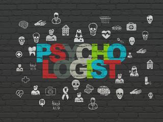 Medicine concept: Psychologist on wall background