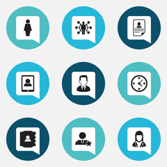 Set Of 9 Editable Business Icons. Includes Symbols Such As Cv, Clock, Job Woman And More. Can Be Used For Web, Mobile, UI And Infographic Design.