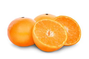 whole and half of mandarin oranges isolated on white background