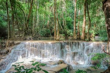 Huay Mae khamin waterfall in National Park Srinakarin, Kanchanaburi, western of Thailand