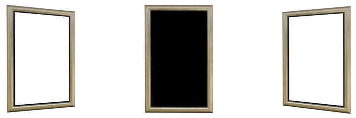 Frame picture or Three frame picture with blank screen on black color background - Panoramic view