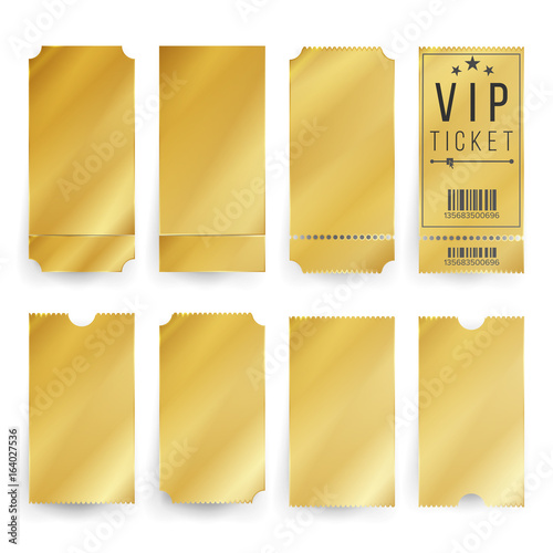 vip ticket template vector empty golden tickets and coupons blank