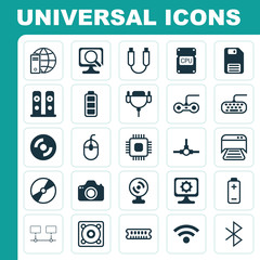 Hardware Icons Set. Collection Of Dynamic Memory, Battery, Printed Document And Other Elements. Also Includes Symbols Such As Dvd, Keyboard, Save.