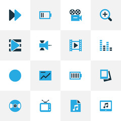 Multimedia Colorful Icons Set. Collection Of Chart, Zoom In, Television And Other Elements. Also Includes Symbols Such As Magnifier, Communication, Low.