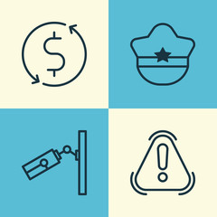 Travel Icons Set. Collection Of Siren, Pilot Hat, Money Trasnfer And Other Elements. Also Includes Symbols Such As Surveillance, Security, Cap.