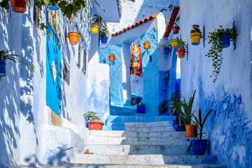 Colourful flower pots in an alley in the Blue City Chefchaouen, Morocco