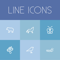 Set Of 6 Editable Animal Icons. Includes Symbols Such As Snake, Panda, Wolf. Can Be Used For Web, Mobile, UI And Infographic Design.