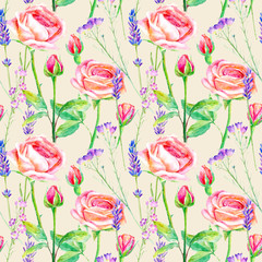 Seamless pattern of a purple roses,bluebell and lavender.Briar and herbs.Image for fabric, paper and other printing and web projects.Watercolor hand drawn illustration.Beige background.