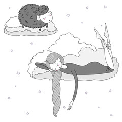 Hand drawn vector illustration of a sleeping girl and sheep floating on the clouds among the stars.