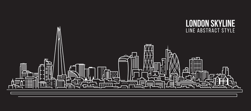 Cityscape Building Line art Vector Illustration design - London skyline