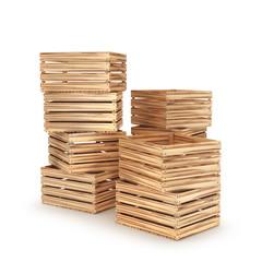 стек деревянные ящики, изолированные на белом фоне. 3D иллюстрация