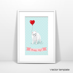 Vector template. Picture frame design with passepartout. White Spitz holds a balloon heart. Seamless background with polka dots. Ribbon with beautiful hand-lettering - Happy dog. Realistic shadow.