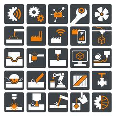 Icon Set Maschinenbau und Industrie 4.0