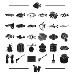 nature, Torres, fishing and other web icon in black style. smoke, Food, beekeeping, icons in set collection.