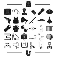 transport, police, security and other web icon in black style. plumbing, equipment, machinery icons in set collection.