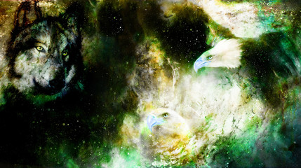 Eagle and wolf in cosmic space. Profile portratit.