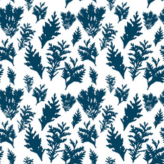 Vector seamless pattern with thuja branches.