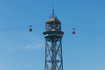 Cab of the funicular of Barcelona, arriving at the Tower of San Sebastian, at the end of the Ramblas. Spain