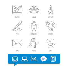 Photo, startup rocket and search icons. Pen, lock and mail linear signs. Dialog chat bubbles, phone call flat line icons. Report file, Graph chart and Chat speech bubble signs. Vector
